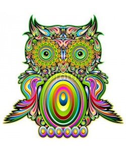 bluedarkat, Owl Psychedelic Pop Art Design-Gufo Psichedelico Decorativo
