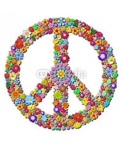 bluedarkat, Peace Symbol Groovy Flowers Design-Pace Simbolo Floreale
