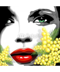 bluedarkat, Viso Bella Donna e Mimosa-Woman Girl's Face and Mimosa
