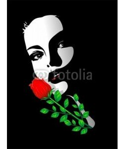bluedarkat, Viso Bella Ragazza Rosa-Beautiful Girl's Rose Portrait-Vector