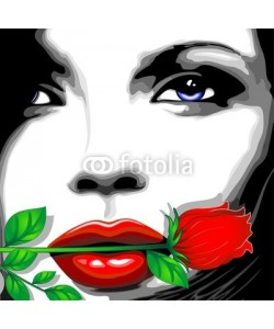 bluedarkat, Viso Donna e Rosa Clip Art-Woman Girl's Face and Rose-Vector