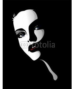 bluedarkat, Viso Ritratto Bella Ragazza-Beautiful Girl's Portrait-Vector