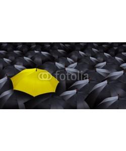 chones, many blacks umbrellas and one yellow umbrella