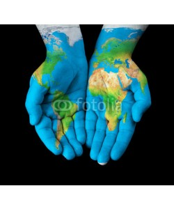chones, Map painted on hands showing concept - the world in our hands