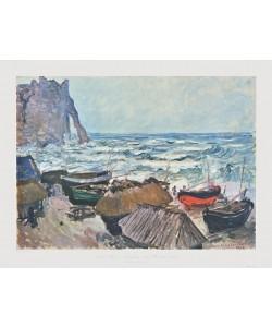 Claude Monet, Fischerboote am Strand von Etrétat