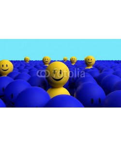 dampoint, Some 3d yellow men come out from a blue crowd