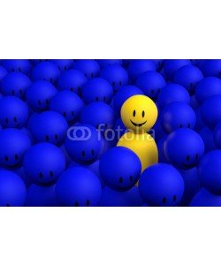 dampoint, 3d yellow man comes out from a blue crowd