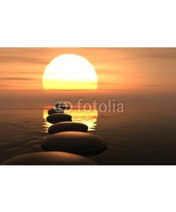 dampoint, Zen path of stones in sunset