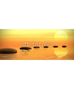 dampoint, Zen path of stones on sunset in widescreen