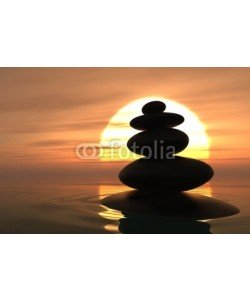 dampoint, Zen pebbles stacked in sunset