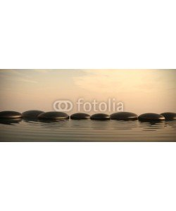 dampoint, Zen stones in water on sunrise