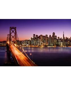 dell, San Francisco skyline and Bay Bridge at sunset, California