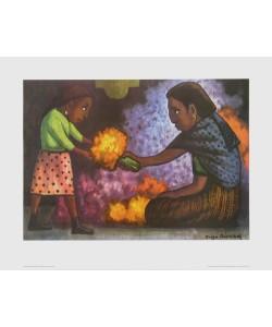 Diego Rivera, Kind hilft der Mutter beim Blumenbinden