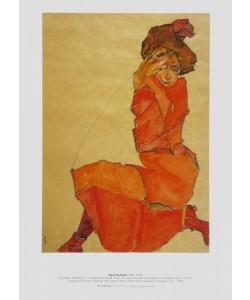 Egon Schiele, Kniendes Mädchen in orangerotem Kleid, 1910