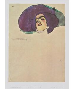 Egon Schiele, Frauenkopf mit breitkrempigem Hut - 1910