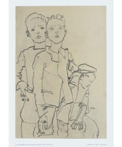 Egon Schiele, Gruppe von drei Gassenbuben - 1910