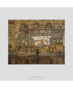 Egon Schiele, Hauswand am Fluss, 1915