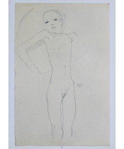 Egon Schiele, Mädchenakt - 1911