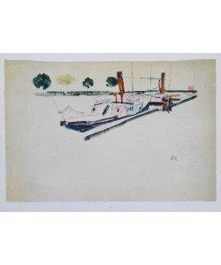 Egon Schiele, Raddampfer am Kai - 1912