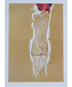 Egon Schiele, Rückenakt eines stehenden Mädchens - 1910