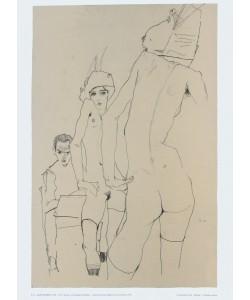 Egon Schiele, Schiele, ein Aktmodell vor Spiegel zeichnend, 1910
