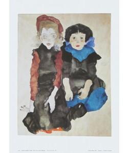 Egon Schiele, Zwei kleine Mädchen - 1911