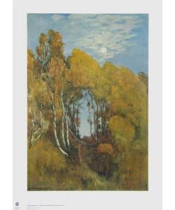Eugen Bracht, Herbstlicher Wald bei Mondschein