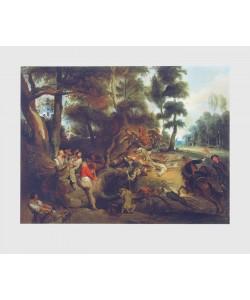 Eugene Delacroix, Sauhatz (nach Rubens)