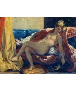 Eugene Delacroix, Nackte Frau einen Papagei...