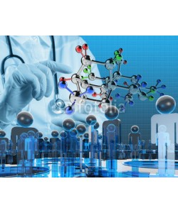 everythingpossible, scientist doctor hand touch virtual molecular structure in the l