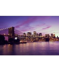 Evgeny Dubinchuk, Brooklyn Bridge and Manhattan at sunset, New York