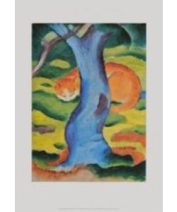 Franz Marc, Katze hinter einem Baum, 1910/11