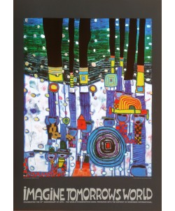 Friedensreich Hundertwasser, BLUE BLUES blaue Vers. (Imagine Tomorrows World) (mit Folienprägung)