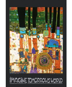 Friedensreich Hundertwasser, IMAGINE TOMORROW'S WORLD (orange) (Original Manifesto-Art-Prints)