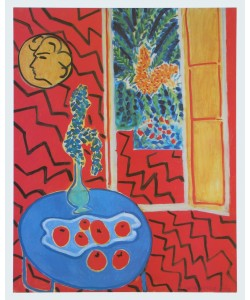 Henri Matisse, Rotes Interieur - Stillleben auf blauem Tisch