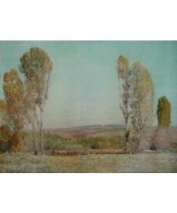 Hilde Hasseau, Landschaft mit Pappeln