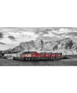 Rolf Fischer, Lofoten Nähe Reine mit roten Hütten
