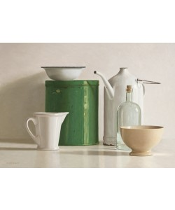 Willem de Bont, Green tin box, bottle, 2 jugs and 2 bowl