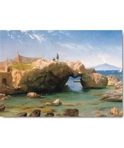 Carl Frederic Aagaard, Eine felsige Küste mit dem Vesuv im Hint