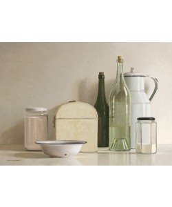 Willem de Bont, 2 jars, 2 bottles, jug, tin box and bowl