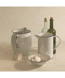 Willem de Bont, 2 jugs, 2 bottles, 2 eggs and a bowl