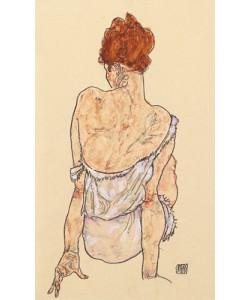 Egon Schiele, Sitzende in Unterwäsche, Rückenansicht