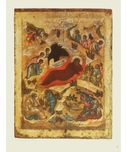 Ikone Russisch, Die Geburt Christi (Kupfertiefdruck)