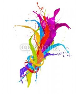 Jag_cz, Colored paint splashes bouquet isolated on white background
