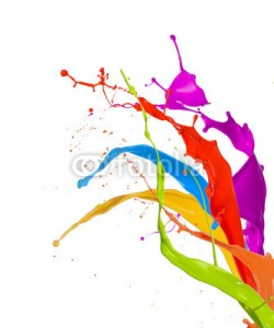 Jag_cz, Colored paint splashes isolated on white background