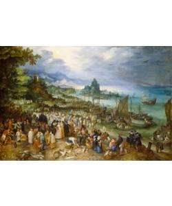 Jan Brueghel der Ältere, Seehafen mit Predigt Christi