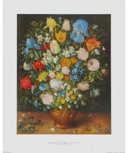 Jan Brueghel der Ältere, Blumen in brauner Vase