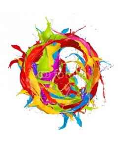 Jag_cz, Colored paints splashes circle, isolated on white background