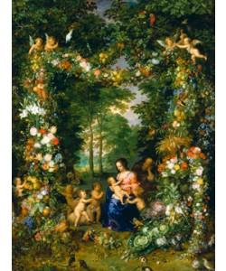 Jan Brueghel der Ältere, Hl. Familie in einem Blumenkranz