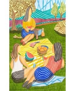 Tres Chicas merendando en el Campo, Javier Ortas